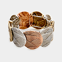Embossed Metal Round Stretch Bracelet