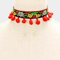 Embroidery Flower Tiny Pom Pom Choker Necklace