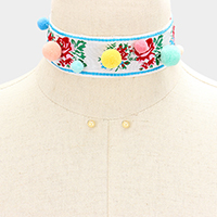 Embroidery Flower Pom Pom Choker Necklace