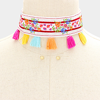 Embroidery Flower Tassel Choker Necklace