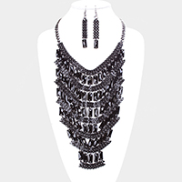 Wide Chain Rectangle Layered Statement Bib Necklace