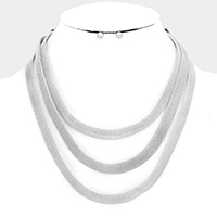 3 Layered Flat Mesh Chain Necklace