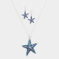Lacquered starfish pendant necklace