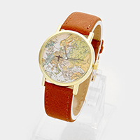 Faux Leather Round Map Strap Watch