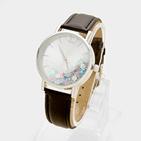 Faux Leather Liquid Glitter Strap Watch