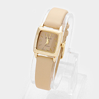 Faux Leather Square Strap Watch