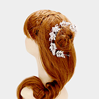 Crystal Rhinestone Leaf Bun Wrap Headpiece