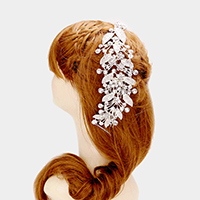 Crystal Rhinestone Flower Leaf Bun Wrap Headpiece
