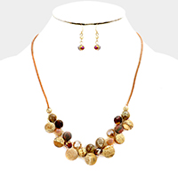 Cord Weave Semi Precious Stone Statement Necklace