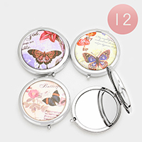 12 PCS - Butterfly Print Compact Mirrors