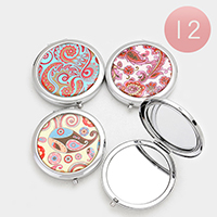 12 PCS - Colorful Print Compact Mirrors