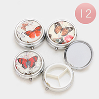 12 PCS -  Butterfly Print Capsule Storage Box Compact Mirrors