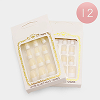 12 Sets Glued Everlasting French Artificial Nails