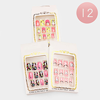 12 Sets Glued Everlasting Bunny Heart Artificial Fashion Nails