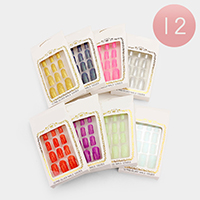 12 Sets Glued Everlasting Glitter Artificial Fashion Nails