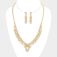 Curved Pave Crystal Rhinestone Marquise Necklace