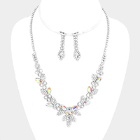 Floral Pave Crystal Rhinestone Marquise Necklace