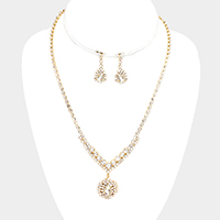 Pave Crystal Rhinestone Dangle Marquise Necklace