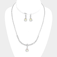 Pave Crystal Rhinestone Teardrop Dangle Marquise Necklace