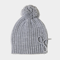 Cable Knit Lace Up Pom Pom Beanie