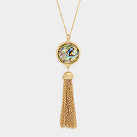 Abalone Drop Chain Tassel Long Necklace