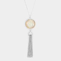 Mother of Pearl Drop Chain Tassel Necklace