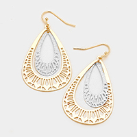 Two Tone Filigree Teardrop Metal Dangle Earrings