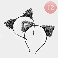 12 PCS - Lace Cat Ear Headbands