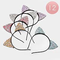 12 PCS - Bling Rhinestone Cat Ear Headbands
