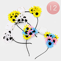 12 PCS - Flower Cat Ear Headbands