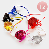 12 PCS - Bling Mini Top Hat Feather Headbands