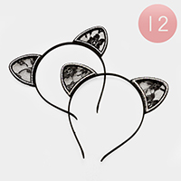 12 PCS - Floral Lace Cat Ear Headbands