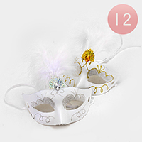 12 PCS - Feather Masquerade Masks