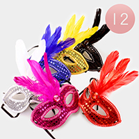 12 PCS -  Bling Sequin Feather Masquerade Masks