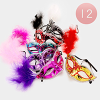 12 PCS - Bling Feather Masquerade Masks