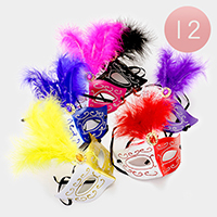 12 PCS - Two Tone Feather Masquerade Masks