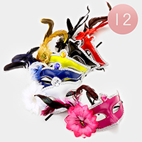 12 PCS - Fabric Flower Feather Masquerade Masks