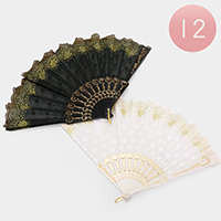 12 PCS - Patterned Polka Dot Folding Fans