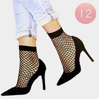 12 Pairs - Diamond Net Ankle Socks