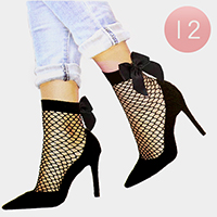 12 Pairs - Ribbon Diamond Net Ankle Socks