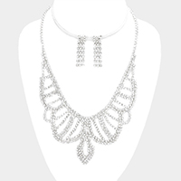 Draped Pave Crystal Rhinestone Marquise Necklace