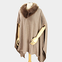 Contemporary Fur Collar Poncho