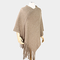Contemporary Brushed Soft Knit Fringe Poncho