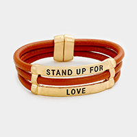 Stand Up for Love Faux Leather Magnetic Bracelet