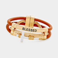 Blessed Faux Leather Wired Wrapped Metal Cross Magnetic Bracelet