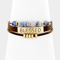 Blessed Layered Faux Leather Semi Precious Bead Magnetic Bracelet