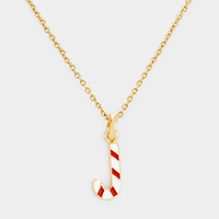 Christmas Candy Cane Pendant Necklace