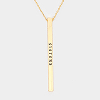 Sisters Metal Bar Pendant Necklace