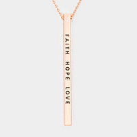 Faith Hope Love Metal Bar Pendant Necklace