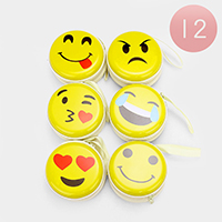 12 PCS - Emoji Round Zipper Coin Purse